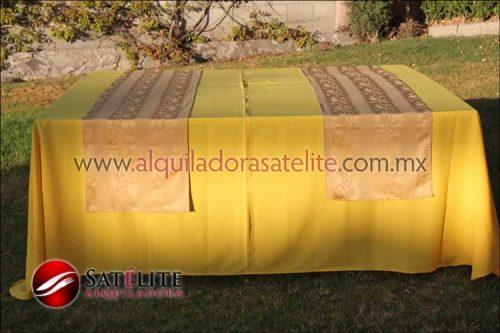Mantel cuadrado amarillo camino jackard