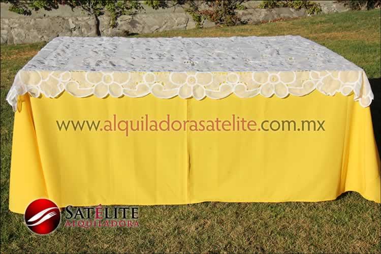 Mantel cuadrado amarillo organza blancoMantel cuadrado amarillo organza blanco