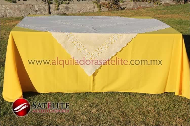 Mantel cuadrado amarillo organza marfil 2