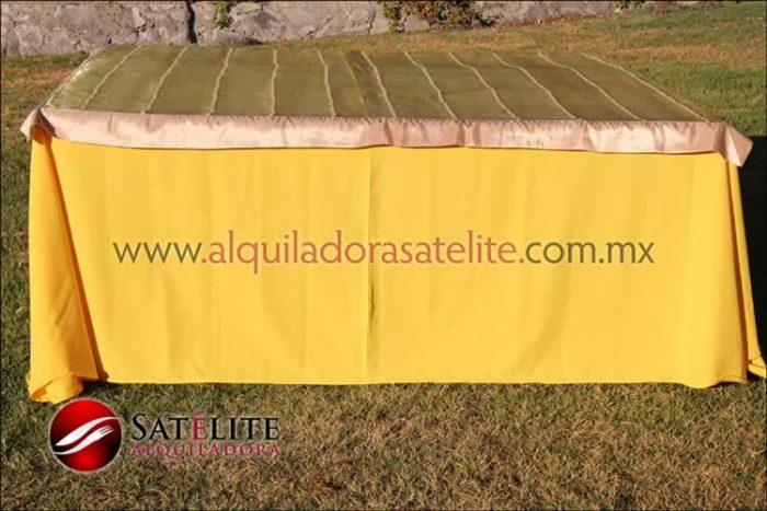 Mantel cuadrado amarillo organza verde oro 1