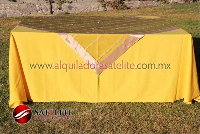 Mantel cuadrado amarillo organza verde oro 2