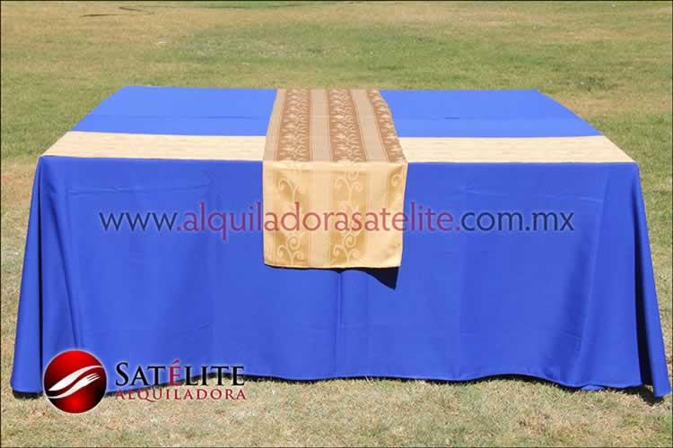 Mantel cuadrado azul rey camino jackard