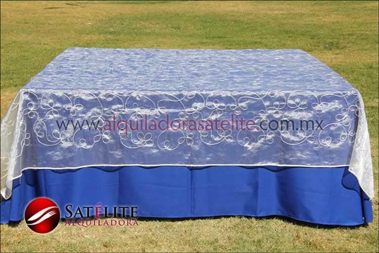 Mantel cuadrado azul rey organza alistonado