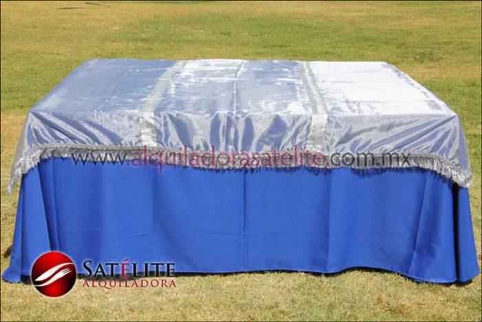 Mantel cuadrado azul rey organza plata