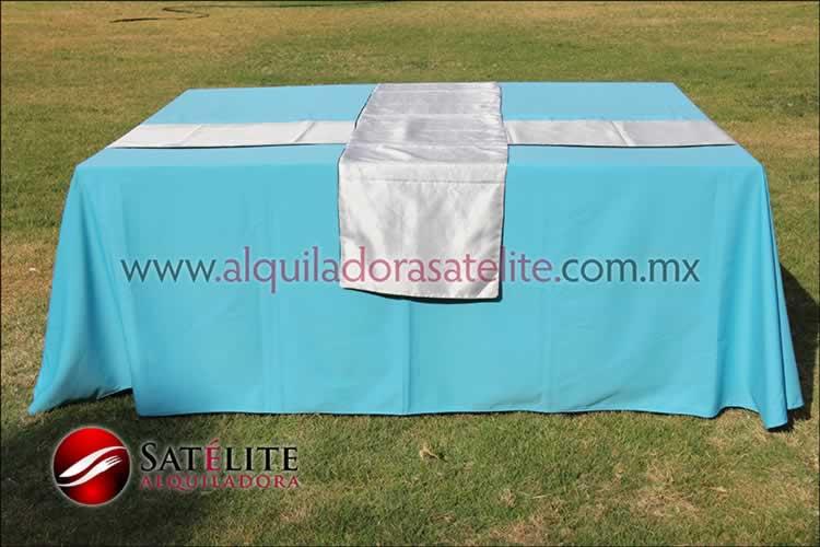 Mantel cuadrado azul turquesa camino blanco