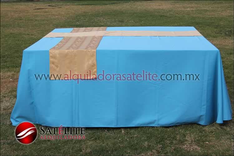 Mantel cuadrado azul turquesa camino jackard