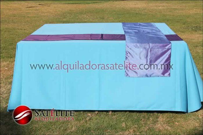 Mantel cuadrado azul turquesa camino morado