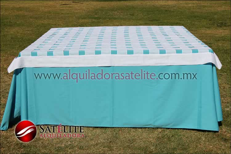 Mantel cuadrado azul turquesa entrelazado blanco