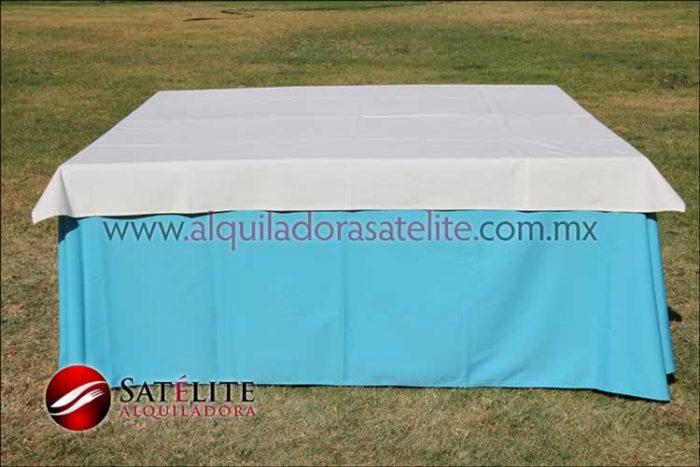 Mantel cuadrado azul turquesa manta