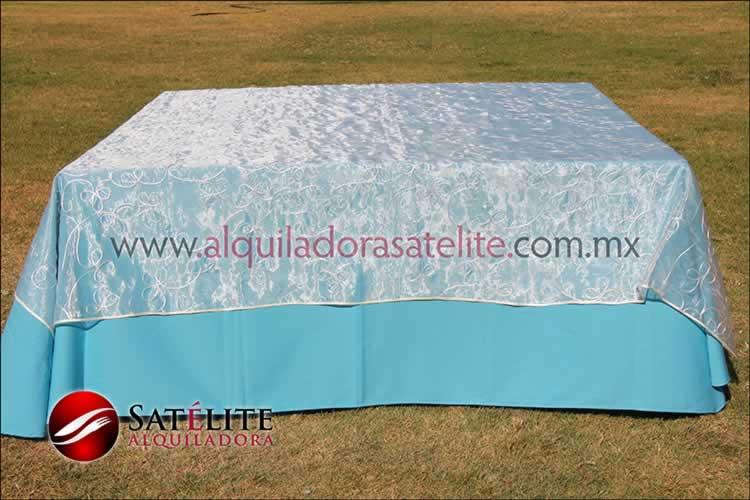 Mantel cuadrado azul turquesa organza alistonado