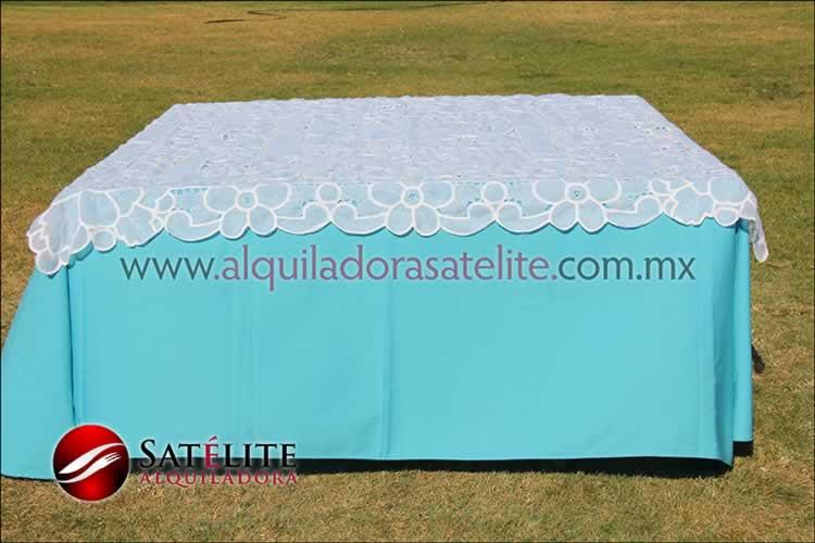 Mantel cuadrado azul turquesa organza blanco