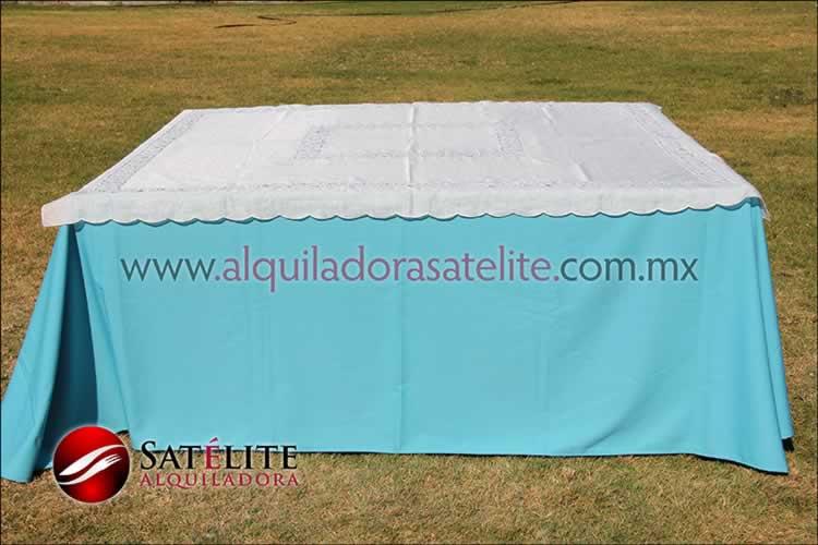 Mantel cuadrado azul turquesa organza marfil 1