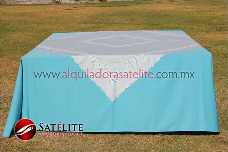 Mantel cuadrado azul turquesa organza marfil 2
