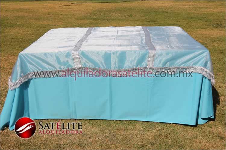 Mantel cuadrado azul turquesa organza plata