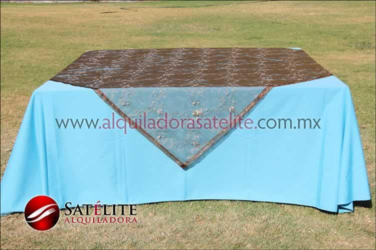 Mantel cuadrado azul turquesa organza shedrón 2