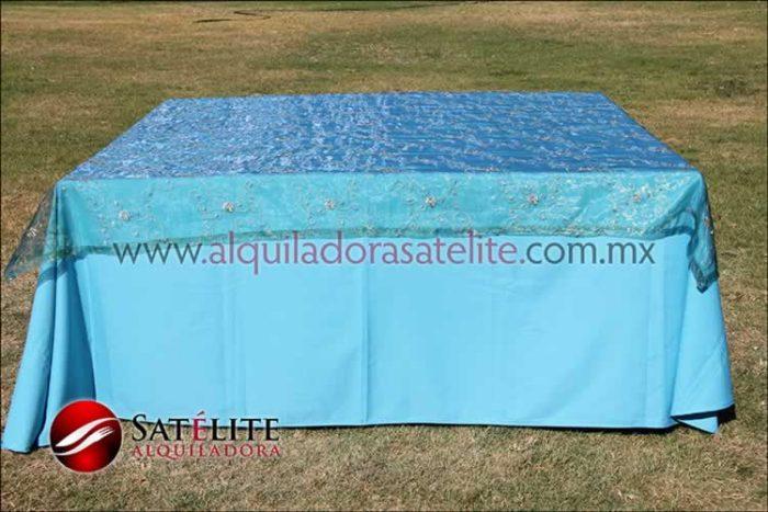 Mantel cuadrado azul turquesa organza verde 1