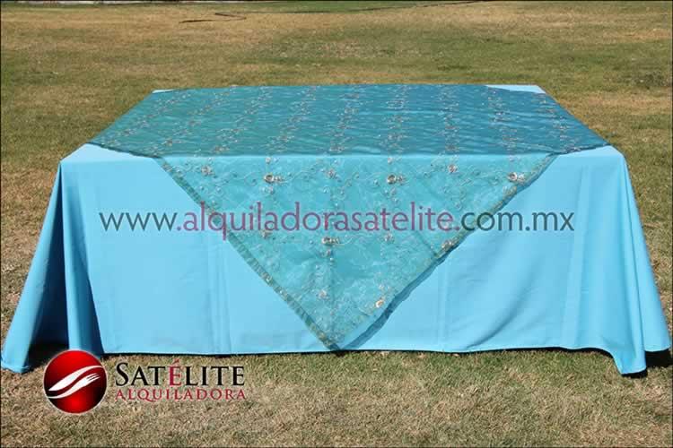Mantel cuadrado azul turquesa organza verde 2