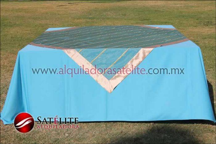 Mantel cuadrado azul turquesa organza verde oro 2