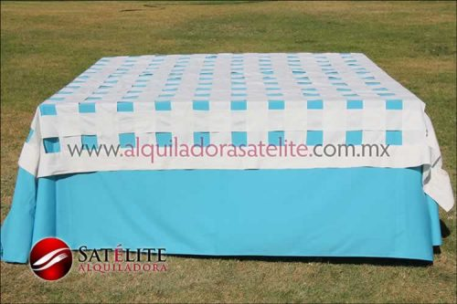 Mantel cuadrado azul turquesa entrelazado manta