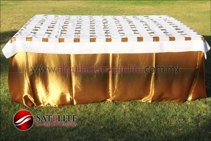 Mantel cuadrado dorado entrelazado blanco