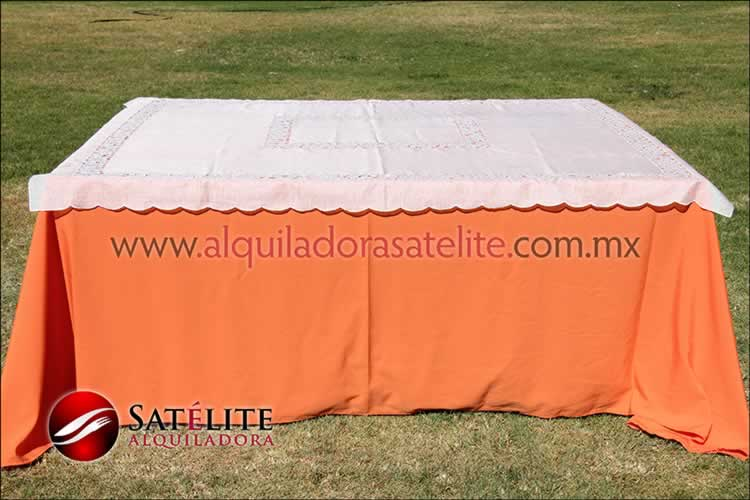 Mantel cuadrado naranja organza marfil 1