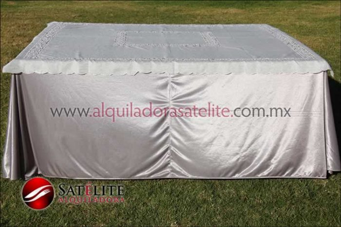 Mantel cuadrado plata organza marfil 1