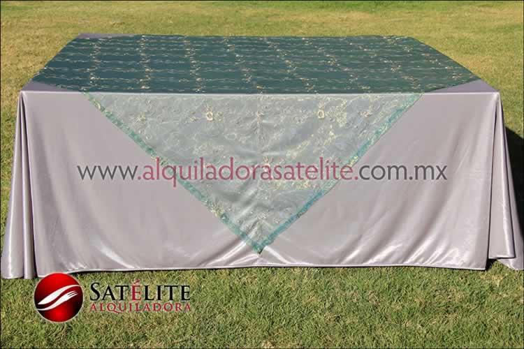 Mantel cuadrado plata organza verde 2