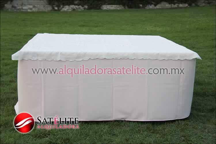 Mantel cuadrado rosa claro organza marfil 1
