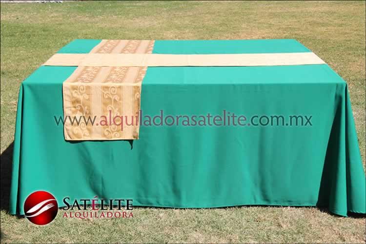 Mantel cuadrado verde bandera camino jackard