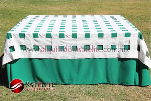 Mantel cuadrado verde bandera entrelazado manta