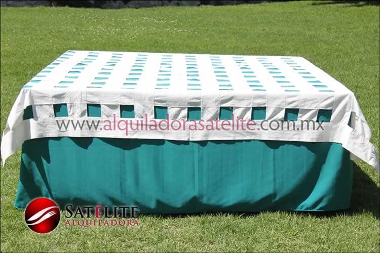 Mantel cuadrado verde jade entrelazado manta