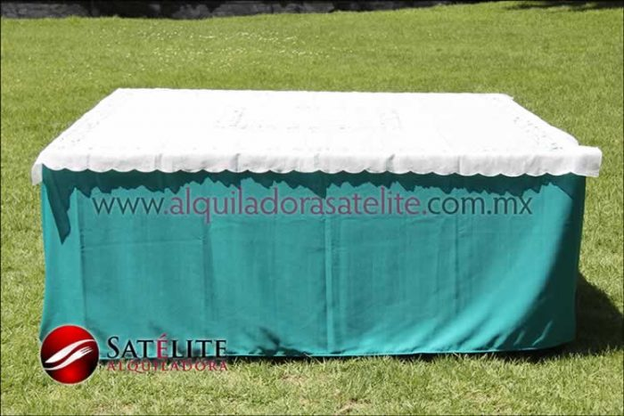 Mantel cuadrado verde jade organza marfil 1
