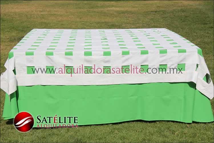 Mantel cuadrado verde limón entrelazado manta