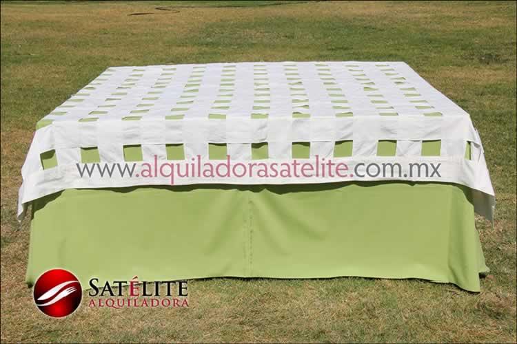 Mantel cuadrado verde manzana entrelazado manta