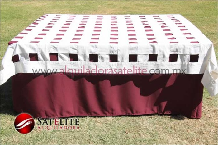 Mantel cuadrado vino entrelazado manta