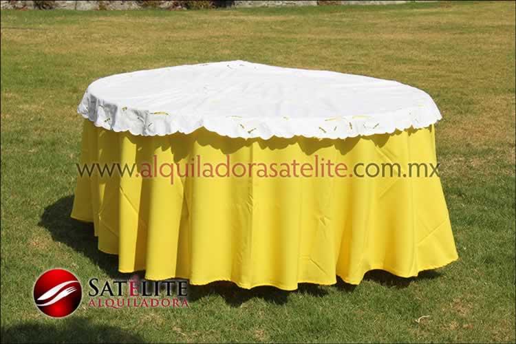 Mantel redondo amarillo calado