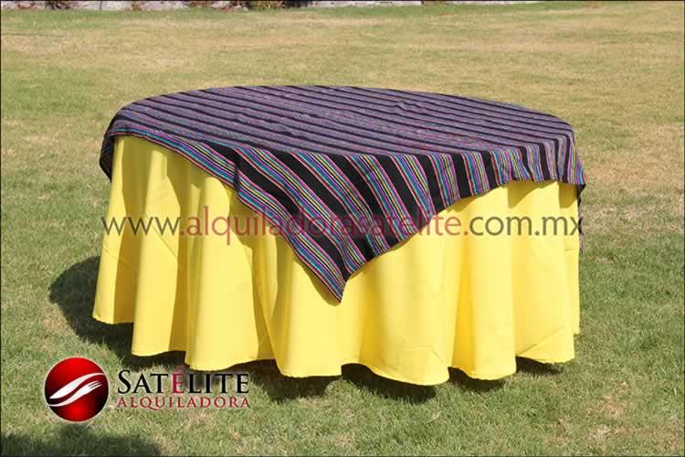 Mantel redondo amarillo cambaya