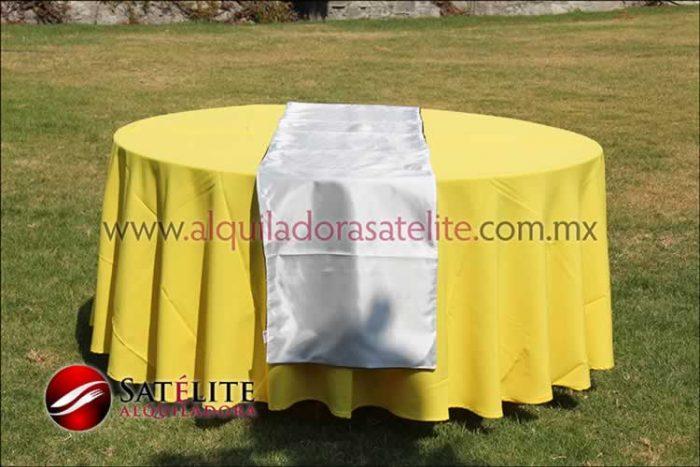 Mantel redondo amarillo camino blanco