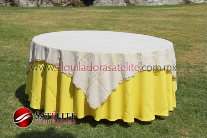 Mantel redondo amarillo deshilado beige