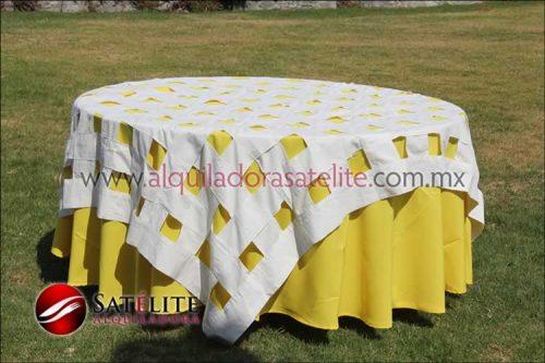 Mantel redondo amarillo entrelazado manta