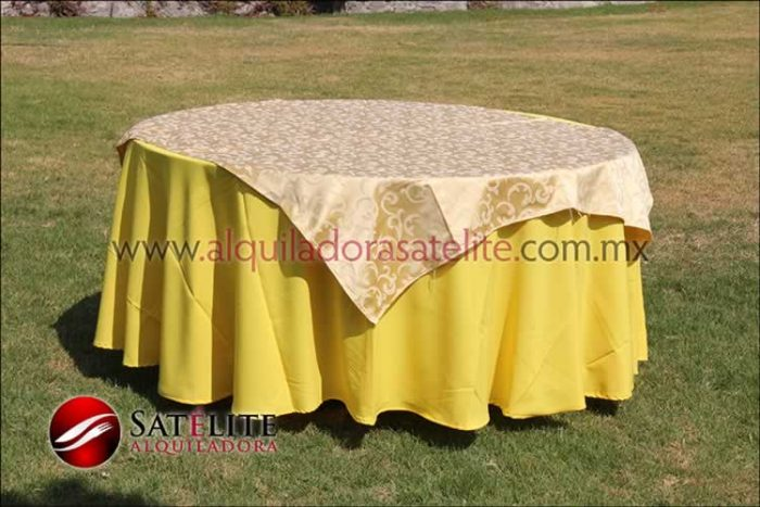 Mantel redondo amarillo jackard