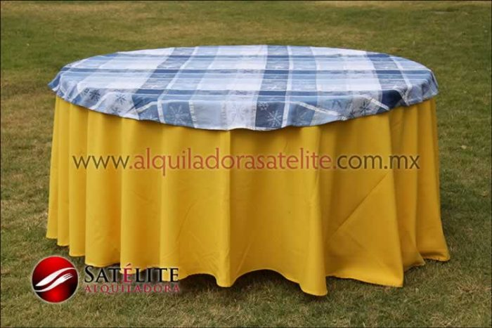 Mantel redondo amarillo navideño azul