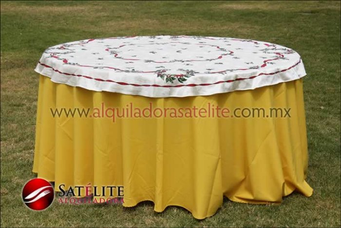 Mantel redondo amarillo navideño marfil