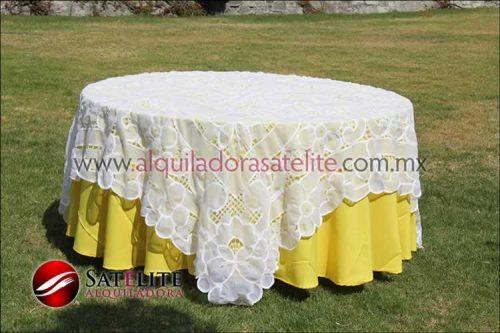 Mantel redondo amarillo organza blanco