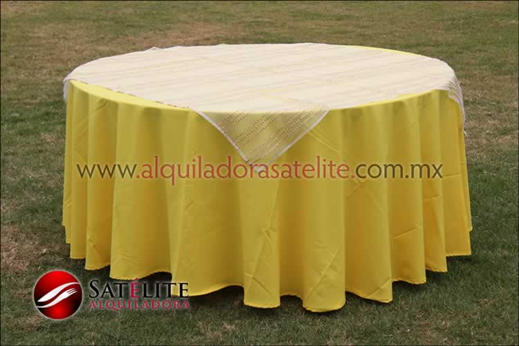 Mantel redondo amarillo organza blanco oro