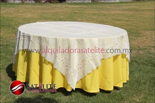 Mantel redondo amarillo organza marfil