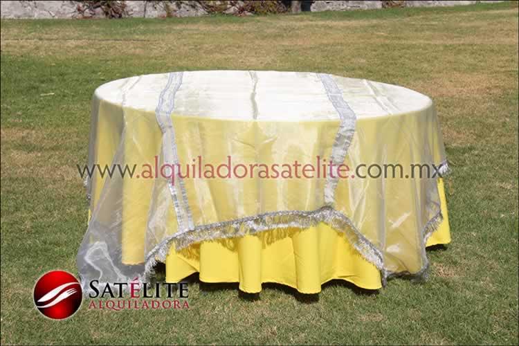 Mantel redondo amarillo organza plata
