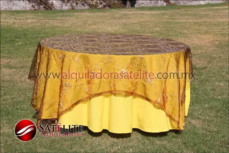 Mantel redondo amarillo organza shedrón