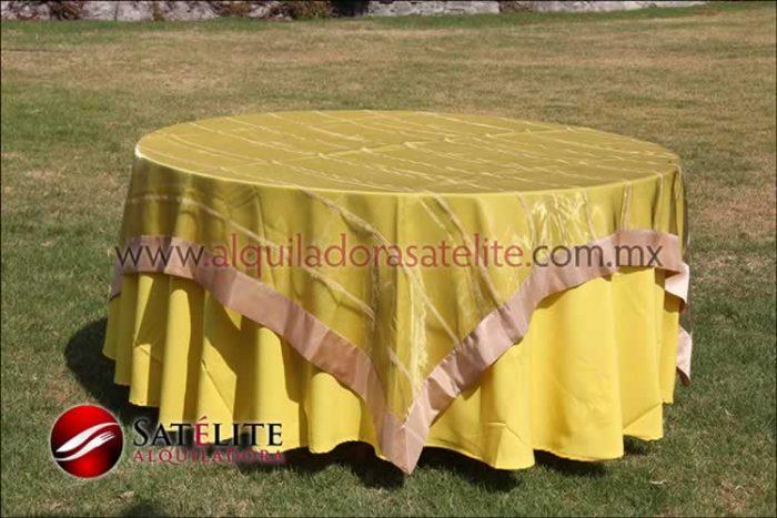 Mantel redondo amarillo organza verde oro