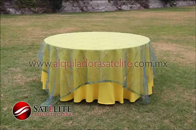 Mantel redondo amarillo organza verde